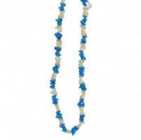 Kaelakee – Magnesiit türkiis + pärlmutter teok. tsipsid, ca. 44-48 cm